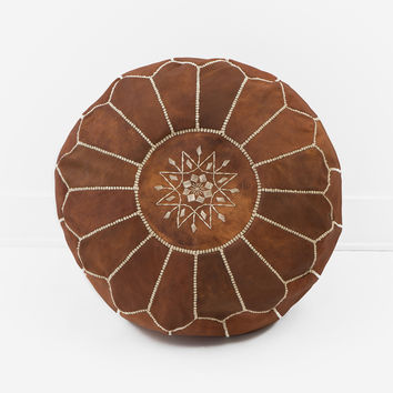 Moroccan Leather Pouf, Natural Tan Brown