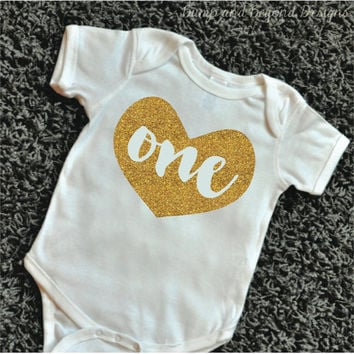 One Year Old Girl First Birthday Shirt Baby Girl Glitter Birthday Outfit Infant Girls Gold Glitter Top One Year Old 1st Birthday Shirt 084