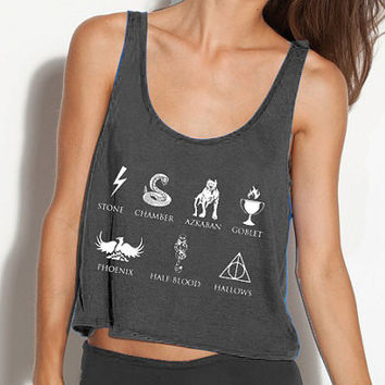Harry Potter Book Titles Crop Tank - Fits Many Sizes - Simple Minimal Design - Deathly Hallows Gift - Flowy Women Hipster Girls Teen Shirt