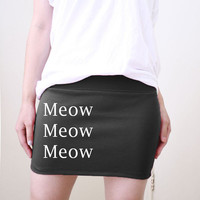 Meow Meow Meow Black Mini Skirt Screenprint available in size S, M, L