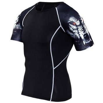 LMF78W 2017 Mens MMA Fitness T Shirts Fashion 3D Teen Wolf short Sleeve Palace Compression Shirt Bodybuilding Crossfit Brand Clothing