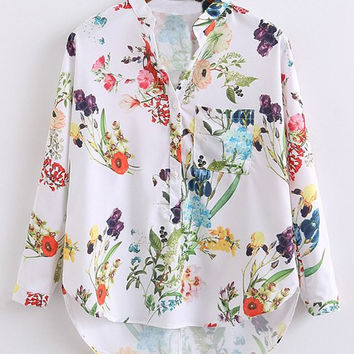 White Floral Chest Pocket Long Sleeve Dip Hem Blouse