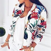 Autumn And Winter New Fashion Floral Print Women Long Sleeve Coat Jacket White