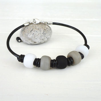 Boho leather cuff black white bracelet glass pony beads unisex men women
