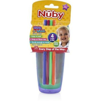 Case of [24] Nuby? Wash or Toss Cups with Straw & Lid 10 oz 4-Pack