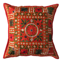 Vintage Hand Embroidery And Miror Decorative Throw Floral Pillow Cushion Cover