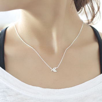 925 sterling silver Smooth fish Necklace ,cute fish necklace,simple silver necklace,a dainty gift