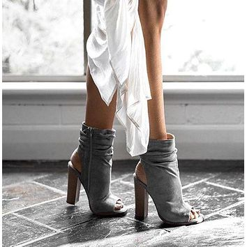 Peep Toe Hollow Out Side Zipper Ankle Boot High Chunky Heel Gray Sandals