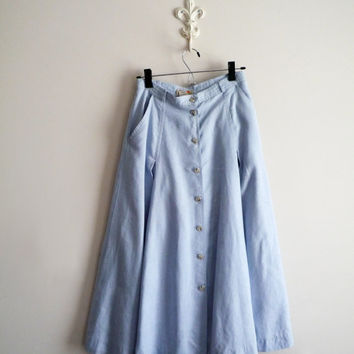 Vintage Linen Skirt, 1980s Light Blue Button Down Front Skirt