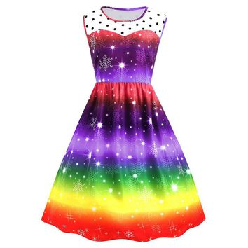 2018 Womens Christmas Rainbow Party Dress Vintage Xmas Swing Dress
