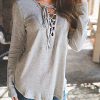 Grey Lace Me Up Top