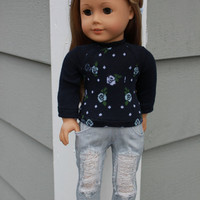 18 inch doll clothes, light blue and navy floral sweater, grey ripped skinny jeans, american girl ,maplelea