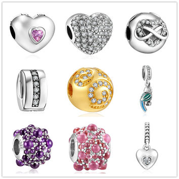 2016 new 925 Sterling Silver European CZ Charm Beads Fit Pandora Style Bracelet Pendant Necklace DIY Jewelry Originals