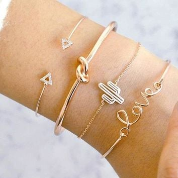 Love Letter Cactus Knot 4-Piece Bracelet Vintage Triangle Diamond-Encrusted Bracelet Set
