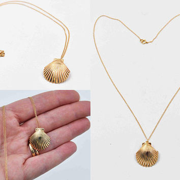 Vintage 14K Yellow Gold Shell Pendant Necklace, Scallop Shell, Seashell, 2.5 Grams, Pendant Brooch Combo, Beach Beauty! #c454