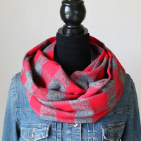 Buffalo Plaid Scarf, Buffalo Check Scarf, Flannel Scarf, Plaid Infinity Scarf, Fall Scarf, Winter Scarf, Womens Scarf, Christmas Gift