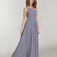 A-line One Shoulder Chiffon Floor-length Light Slate Gray Ruched Evening Dress at dressestore.co.uk