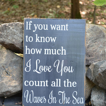 Love You Count The Waves Of The Sea Chalkboard Sign