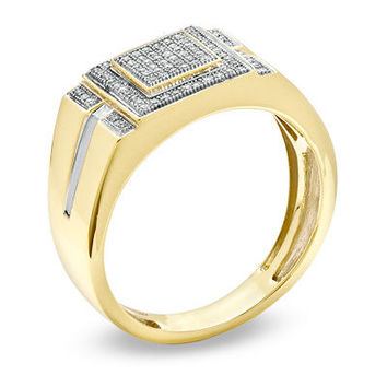 Men's 1/4 CT. T.W. Diamond Micro Cluster Square Stepped Ring in 10K Gold - View All Rings - Zales