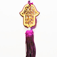 Moroccan Khamsa Tassel Key Chain - Palace Purple Hand of Fatima Good Fortune Keychain w/ Tassel