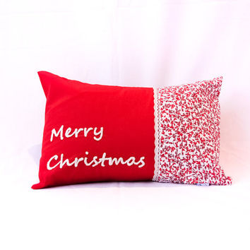 Custom Embroidered Christmas Name Cushion Pillow - the prefect Christmas present / personalised stocking filler / home decor