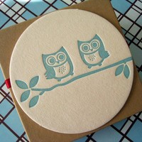 Letterpress Coaster Set  owls by luckybeepress on Etsy