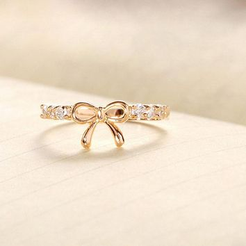 Korean Jewelry rings 2017 ladies new fashion design Simple Crystal wedding bands rings with Bowknot  Rings #814