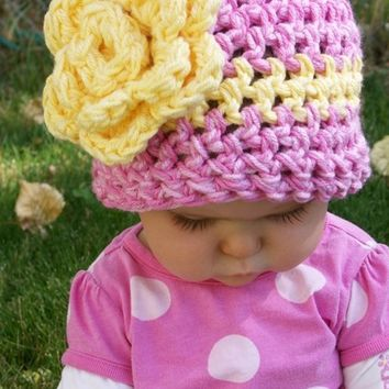 Crochet Pattern- Crochet Hat with Large Flower. Girls Crochet Hat. Girls Crochet hat pattern