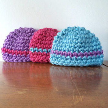 Newborn Girl Hat Set - Triplet Girl Hats - Matching Hat Set - Newborn Winter Hats - Crochet Baby Clothes - Newborn Crochet Hat