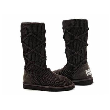 Uggs Boots Black Friday Sale Knit Classic Argyle 5879 Chocolate For Women 95 33