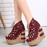 Hot Selling   New Summer Pumps Shoes Fashion High Platform Sandals Wedges Women Sandals Sexy High Heel Ladies Shoes