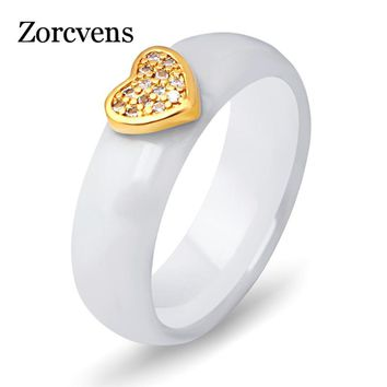 ZORCVENS New Fashion white Black Ceramic Ring CZ Zircon Jewelry Engagement Promise Gold Color Heart Wedding rings for Women