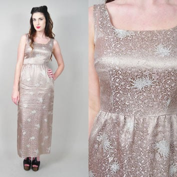 VINTAGE 50s champagne asian floral brocade satin wiggle cocktail maxi MAD MEN wedding dress