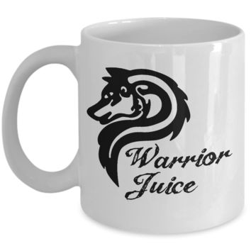 Warrior Juice Wolf Coffee Mug, Funny Wildlife Cup for Your Wolfpack, Holiday and Birthday Gifts for Boyfriend, Dad or Husband, 11oz