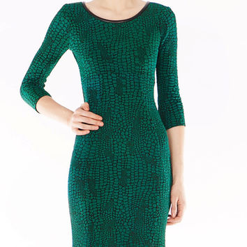 Yoana Baraschi Neoreptile Stretch Sleeve Dress