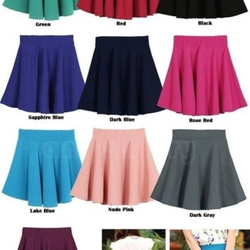 cotton-blend Women Candy Color Stretch Waist Plain Skater Flared Pleated Mini Skirt = 1930030276