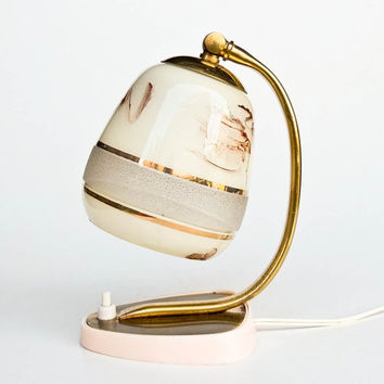 Vintage Table Lamp / Desk Lamp / Bedside Lamp / Mid-Century Lighting / Light Pink and Gold