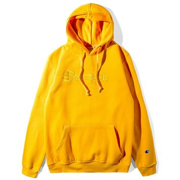 Champion Autumn and winter new fashion bust letter print couple hooded loose long sleeve top thick sweater Yellow