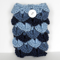 Blue Crochet Cell Phone Cozy / Case in Crocodile Stitch