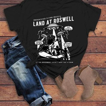 Women's Alien T Shirt Roswell Shirt UFO Conspiracy Graphic Tee Cover Up Landing Retro TShirt
