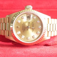 Authentic Rolex Diamond Champagne Dial Datejust Gold President Ladies Watch