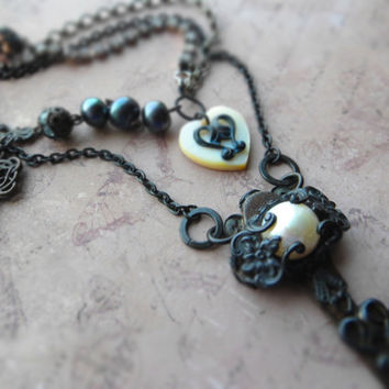 Bohemian assemblage statement key necklace / key, MOP heart, freshwater pearls, Swarovski crystal, oxidized brass, Czech glass