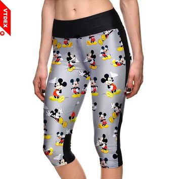 Yoga Capri Pants 2018 Elastic Waist Mickey Mouse Pattern Girl Skinny Fitness Leggings Workout Training Sports Tights Calf Length