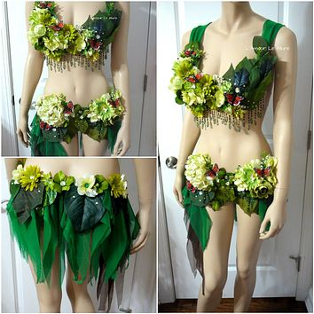 Woodland Green Forest Fairy Bra and Skirt Shorts Costume