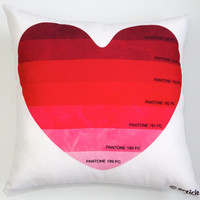 Pillow / cushion - Heart of a designer - Pantone (R) color in her/his heart print on a gabardine decorative pillow (insert included)