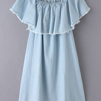 Light Blue Ruffle Off The Shoulder Fringe Denim Dress