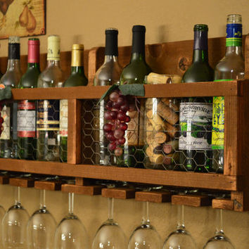 Rustic Reclaimed Wood & Chicken Wire 10 bottle Wine Rack with 8 glass holder.