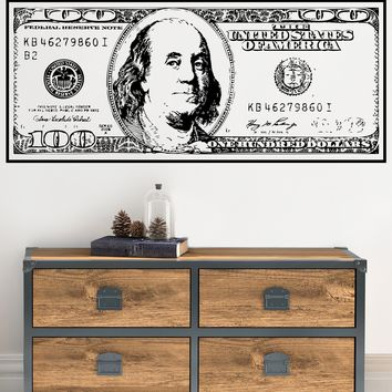 100 Dollar Bill Vinyl Wall Decal. Sign of Success. Motivational. #1560