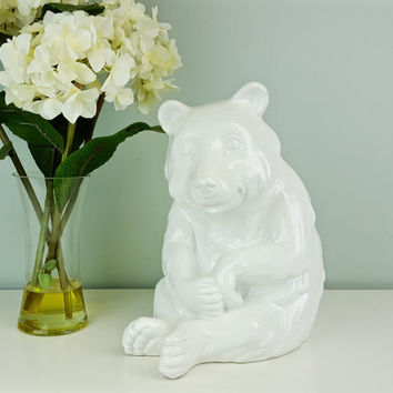 Large Ceramic White Bear Italian Pottery, White Polar Bear Figurine Statue, Monochromatic White Decor, Minimalist Decor, Shelf Decoration