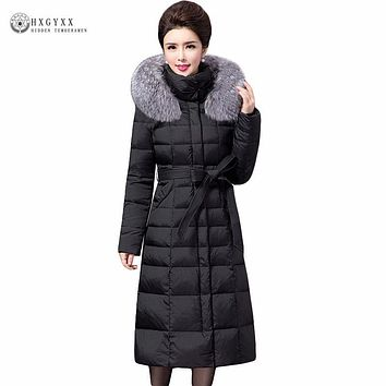 Fashion Fox Fur Collar Hooded Down Coat 2017 Winter Women Duck Down Goose Coats Feather Jacket Slim Warm Long Parka Oka748